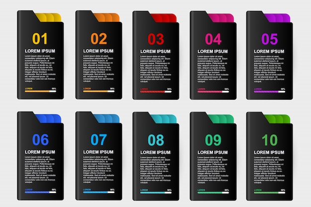 Infographic projekta szablon dla biznesu 10 kroka