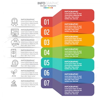 Infographic projekta szablon z ikonami i liczbami.