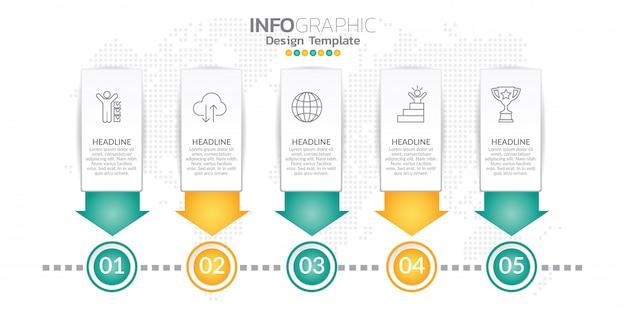 Infographic projekta szablon z opcjami lub krokami.