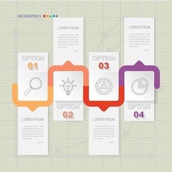 Infographic szablon czterech opcji na siatce, wykresy i elementy wykresów