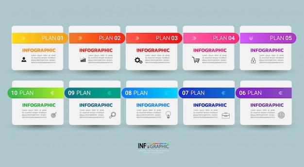 Infographic szablon dziesięć kroków.