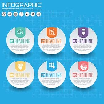 Infographic szablon i opcje z płaskimi ikonami dla prezentaci.
