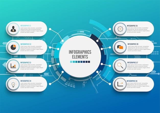 Infographic szablon z 3d papierem, biznes z 8 opcjami.