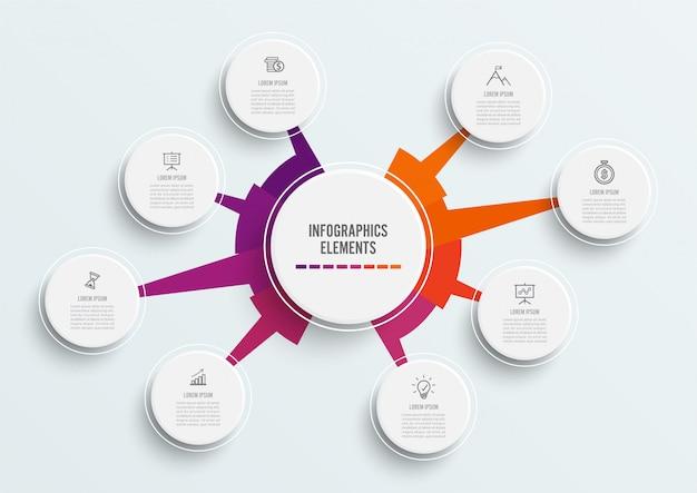 Infographic szablon z 3d papieru etykietką. osiem opcji biznesowych.