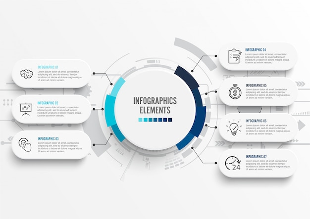 Infographic szablon z 3d papieru etykietką. siedem opcji biznesowych.