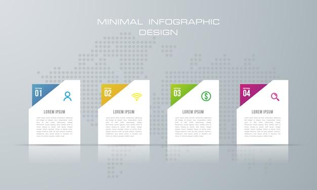 Infographic szablon z 4 opcjami, przepływem pracy, wykresem procesu
