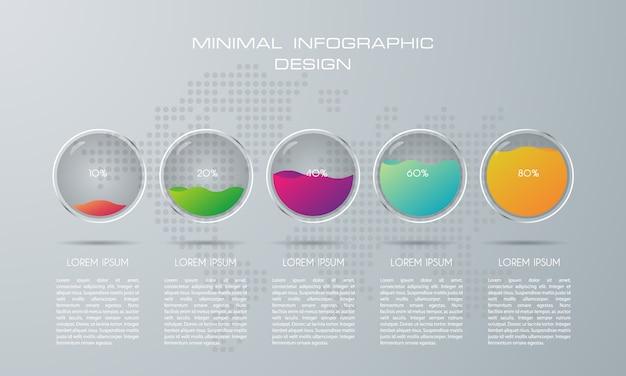 Infographic szablon z 5 opcjami, przepływem pracy, wykresem procesu