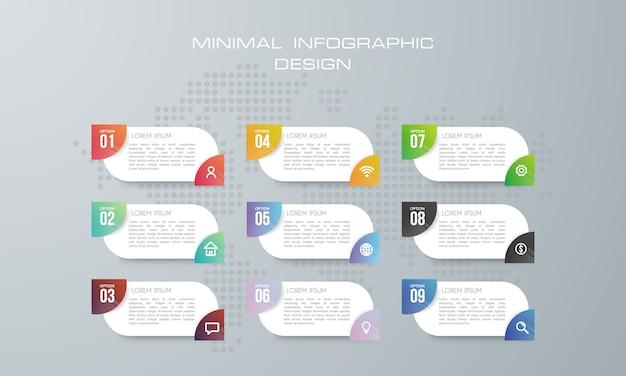 Infographic szablon z 9 opcjami, przepływem pracy, wykresem procesu