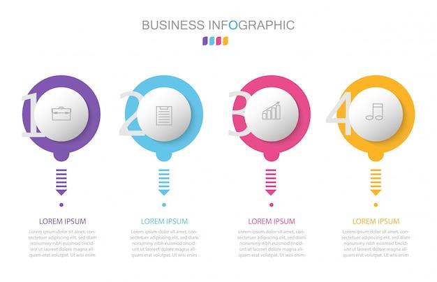 Infographic szablon z cztery krokami lub opcjami