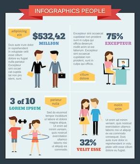 Infographic szablon z ludźmi ustawiającymi