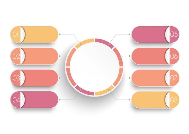 Infographic szablon z papierową etykietą 3d, zintegrowane koła.