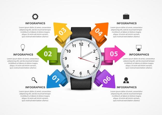 Infographic szablon z zegarem.