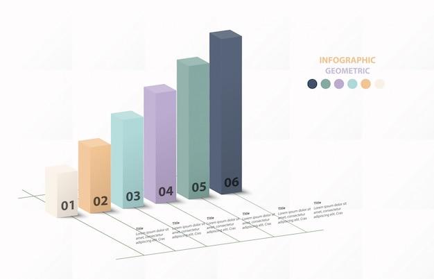 Infographic sześć wykresu słupkowego dla koncepcji biznesowej. niebieskie tło koloru.