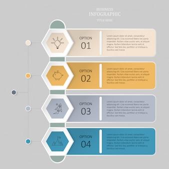 Infographic sześciokąta 4 opcja, kroki lub ikony dla biznesowego pojęcia.