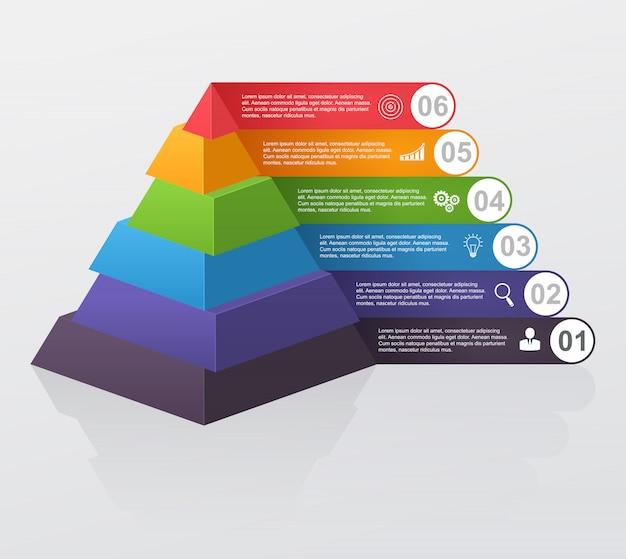 Infographic wielopoziomowy ostrosłup z liczbami i biznesowymi ikonami.