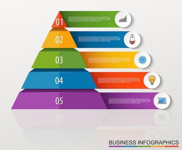 Infographic wielopoziomowy ostrosłup z liczbami i biznesowymi ikonami