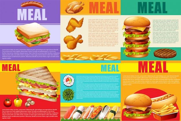 Infographic zdrowej żywności i fastfood