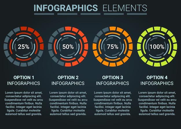 Infographics element abstrakcyjny wzór postępu ładowanie koła