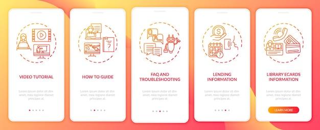 Infolinia biblioteki online wprowadzająca ekran strony aplikacji mobilnej z koncepcjami. pomocne lekcje i opis przejścia 5 kroków. szablon ui z kolorowymi ilustracjami rgb