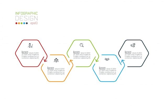 Inforgraphics sześciokąt na grafice wektorowej