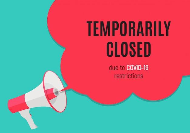 Informacja ostrzegająca tymczasowo zamknięty znak wieści o koronawirusie.