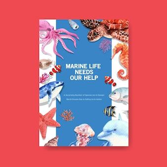Informacje na temat koncepcji światowego dnia oceanów ze zwierzętami morskimi, wielorybem, żółwiami, konikami morskimi, meduzami i ośmiornicami wektor akwarela
