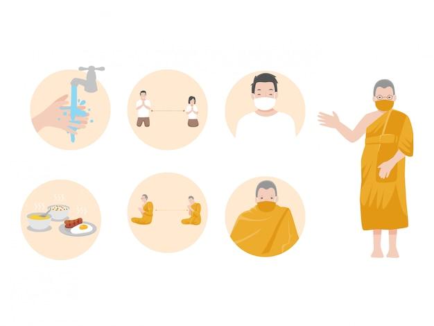 Informacje o elementach graficznych: znaki i wirus korony, mnich i ludzie