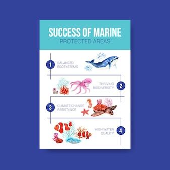 Informacje o koncepcji światowego dnia oceanów ze zwierzętami morskimi, ośmiornicą, wielorybem, nemo i koralowym wektorem akwarelowym