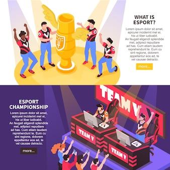 Informacje o sportach cybernetycznych na temat zawodów w grach komputerowych ilustracja izometryczna