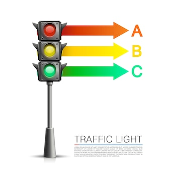 Informacje o sygnalizacji drogowej na białym tle. ilustracja wektorowa