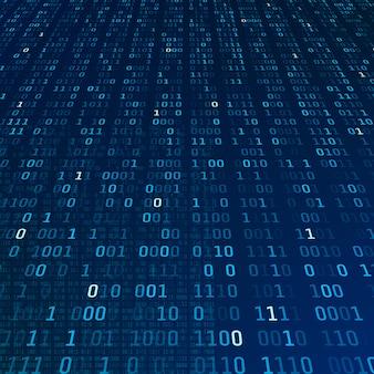 Informacje o szyfrowaniu. kod binarny na niebieskim tle. koncepcja abstrakcyjna algorytmu dużych zbiorów danych. ilustracja