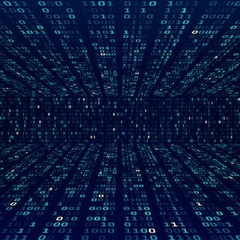 Informacje o szyfrowaniu. kod binarny na niebieskim tle. losowe liczby binarne. abstrakcyjne pojęcie zapory. ilustracja