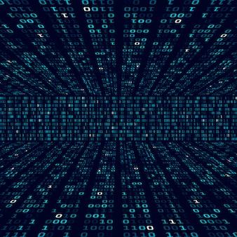 Informacje o szyfrowaniu. kod binarny na niebieskim tle. losowe liczby binarne. koncepcja abstrakcyjna algorytmu dużych zbiorów danych. ilustracja