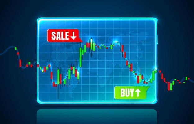 Informacje o wykresie handlowca finansowego, broker kupna i sprzedaży.