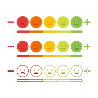 Informacje zwrotne emoticon emoji uśmiechu ikony wektoru ilustracja