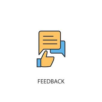 Informacje zwrotne koncepcja 2 kolorowa ikona linii. prosta ilustracja elementu żółty i niebieski. projekt symbolu konspektu koncepcji opinii