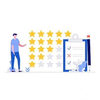 Informacje zwrotne lub koncepcja ilustracji oceny ze znakami. recenzja klienta. nowoczesna ilustracja w stylu strony docelowej, aplikacji mobilnej, plakatu, banera internetowego, infografiki, obrazów bohaterów
