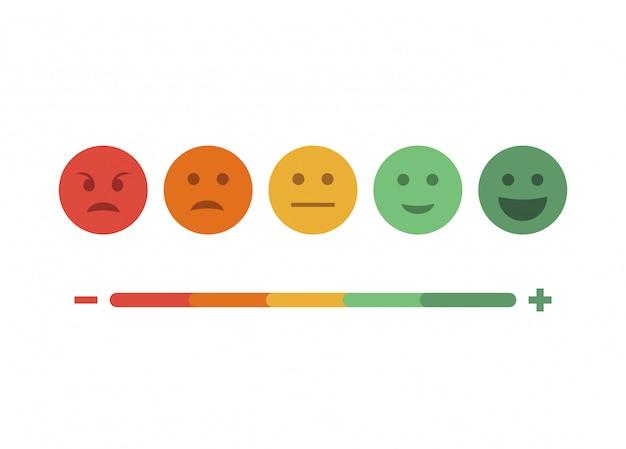 Informacje zwrotne płaski zestaw emotikon