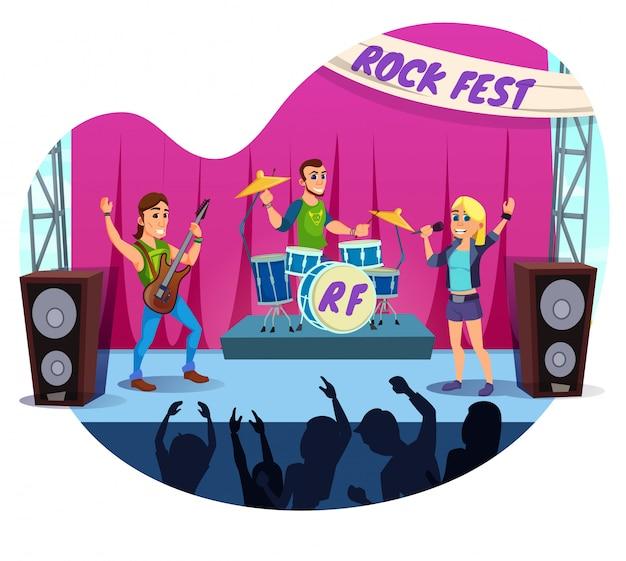 Informacyjna banerowa wystawa rock fest cartoon.