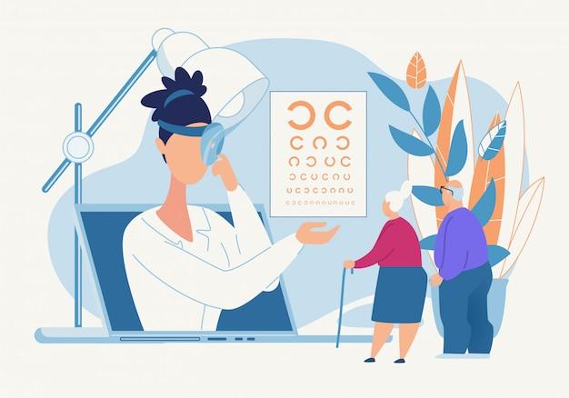Informacyjna diagnoza oka plakatowego przez okulistę.