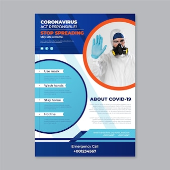 Informacyjna koncepcja ulotki koronawirusa