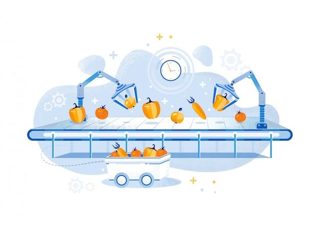 Informacyjna linia do produkcji warzyw plakatowych.