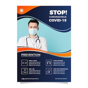 Informacyjna ulotka dotycząca koronawirusa ze zdjęciem