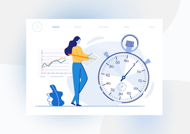 Informacyjne cele osiągnięć ulotki ze stoperem. dziewczyna dokonuje rejestrów pomiaru czasu na stoperze i tabeli poprawek. wyczyść czas wskazania przydzielony do celów wdrażania. ilustracja.