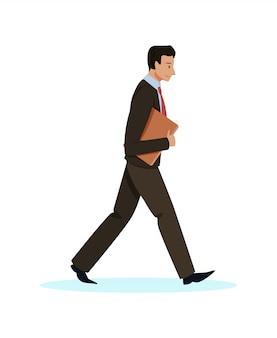 Informacyjny facet w garniturze idzie z teczką.