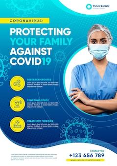 Informacyjny lekarz ulotki koronawirusa noszący maskę ochronną