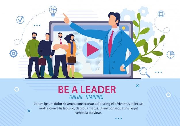 Informacyjny napis plakatowy, aby zostać liderem.