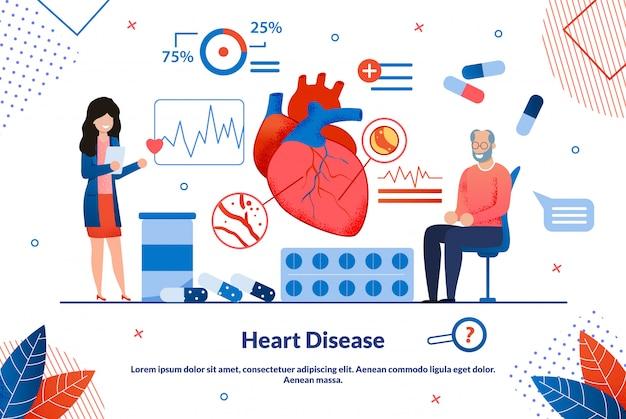 Informacyjny napis ulotki choroby serca płaskie.