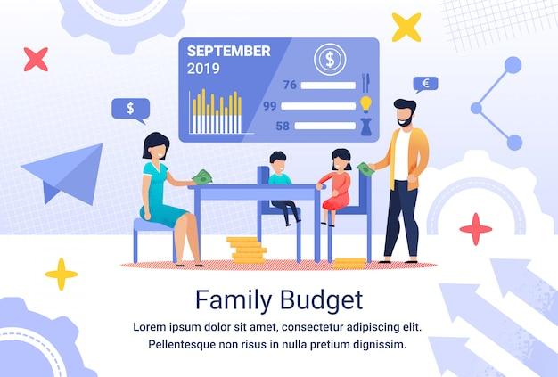 Informacyjny napis ulotki family budget, flat.