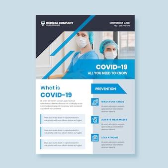 Informacyjny szablon plakatu covid-19 ze zdjęciem